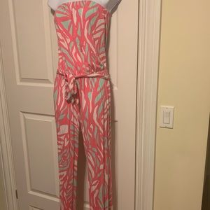Lilly Pulitzer cotton pants romper. Pink white